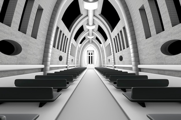 3d ilustracja wnętrza chrześcijańskiej katedry