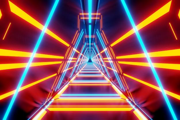 3d ilustracja wnętrza przejścia statku kosmicznego.
