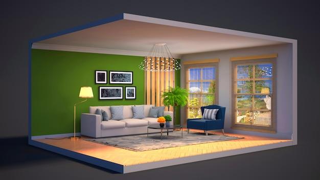 3d ilustracja wnętrza salonu w pudełku