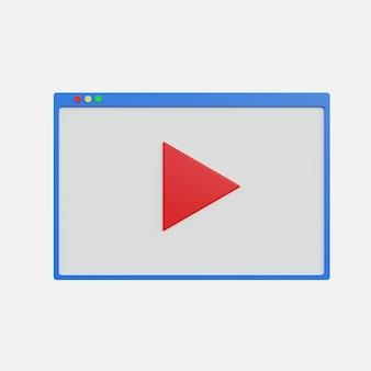 3d ilustracja wyświetla przycisk odtwarzania wideo na białym tle