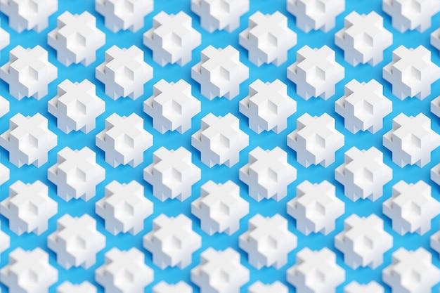3d ilustracja wzór dużych objętościowych białych krzyżyków na niebiesko na białym tle