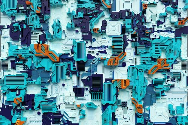 3d ilustracja wzoru w postaci metalowej, technologicznej powłoki statku kosmicznego lub robota. grafika abstrakcyjna w stylu gier komputerowych. zbliżenie na kolorową cyber zbroję