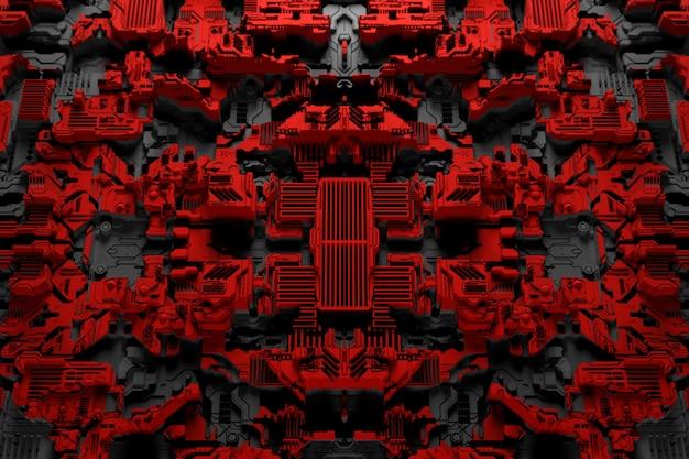 3d ilustracja wzoru w postaci metalowej, technologicznej powłoki statku kosmicznego lub robota