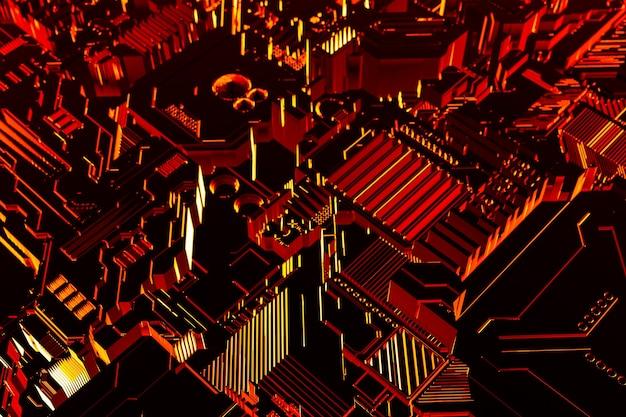 3d ilustracja wzoru w postaci metalu, technologicznego poszycia statku kosmicznego lub robota. grafika abstrakcyjna w stylu gier komputerowych.