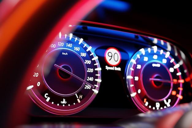 3d ilustracja z bliska czarny panel samochodowy