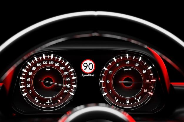 3d ilustracja z bliska igła prędkościomierza pokazuje maksymalną prędkość 220 km h