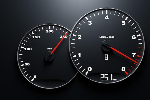 3d ilustracja z bliska panel samochodowy instrumentu z licznikiem kilometrów, prędkościomierzem, obrotomierzem