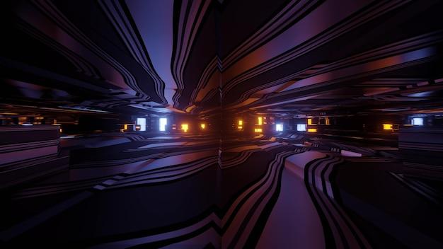 3d ilustracja z efektem poruszania się przez ciemny futurystyczny tunel ze świecącymi neonami i odbiciami na abstrakcyjnym tle science fiction