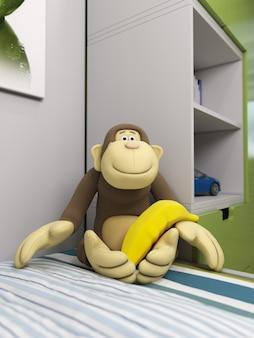 3d ilustracja zabawkarska małpa