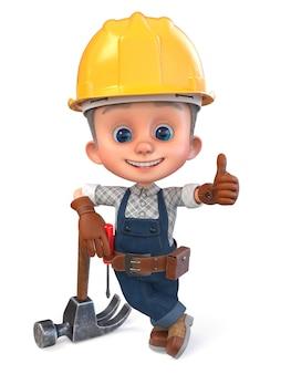 3d ilustracja zabawny chłopiec w kasku budowlanym i kombinezonie