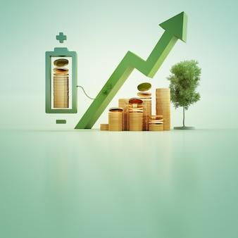 3d ilustracja złociste monety z baterią i drzewem na zielonym tle.