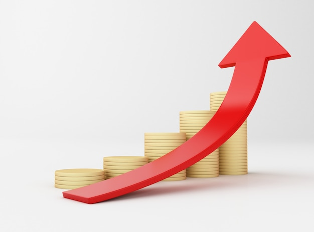 3d ilustracja. złote monety i strzałka wykresu. sukces w biznesie.
