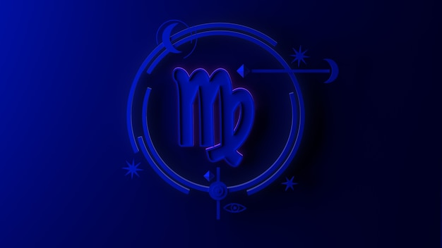 3d ilustracja znak zodiaku panna na ciemnym tle. horoskop. tarot.