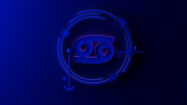 3d ilustracja znak zodiaku rak na ciemnym tle. horoskop. tarot.