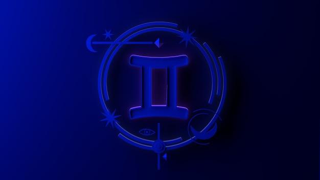 3d ilustracja znaku zodiaku bliźnięta na ciemnym tle. horoskop. tarot.