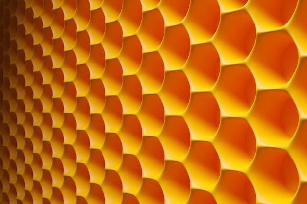 3d ilustracja żółtego honeycomb monochromatyczny honeycomb dla miodu. wzór prostych geometrycznych kształtów sześciokątnych, tło mozaiki. koncepcja plastra miodu pszczoła