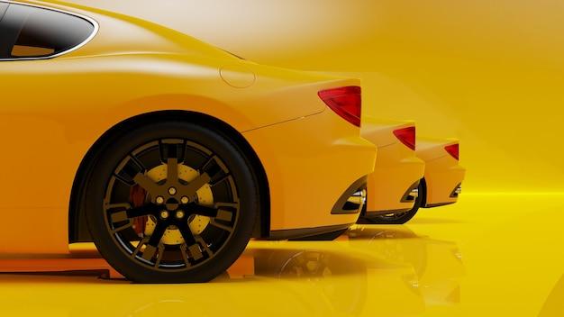 3d ilustracja żółtych samochodów na żółtej powierzchni