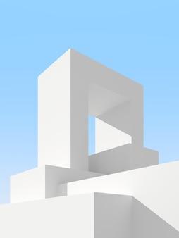 3d ilustracji abstrakcyjnego tła architektury. minimalistyczny plakat architektoniczny.