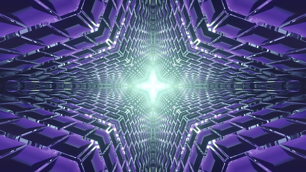 3d ilustracji abstrakcyjnego tła symetrycznego tunelu ze świecącym niebieskim ornamentem geometrycznym
