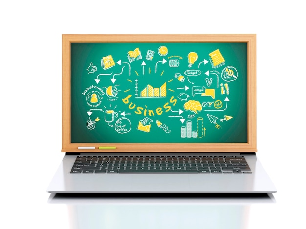 3d ilustracji. laptop z chalkboard na białym tle