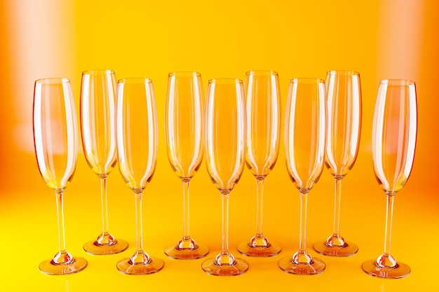 3d ilustracji okularów do szampana, wina na żółtej powierzchni