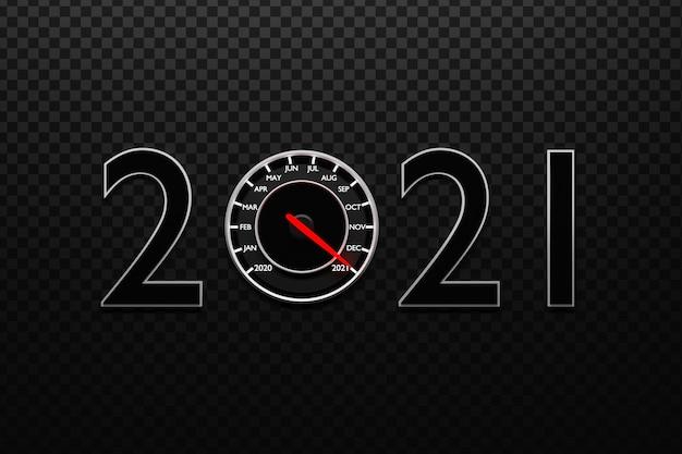 3d ilustracji z bliska czarny prędkościomierz z odcinkami i miesięcy kalendarzowych