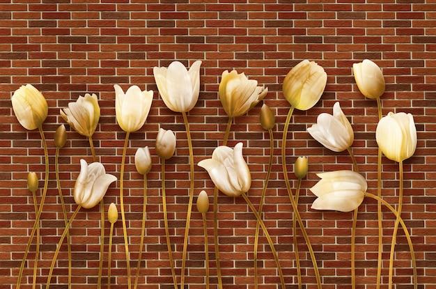 3d ilustracyjna sztuka ścienna złote kwiaty na cegłach ściennych
