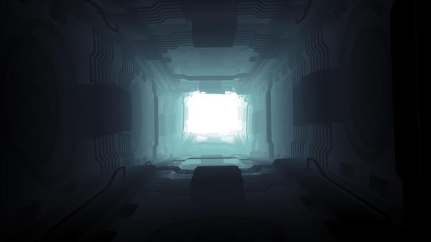 3d ilustracyjnego futurystycznego projekta statku kosmicznego wewnętrzny nieskończony ciemny korytarz