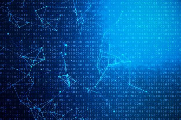 3d ilustracyjny binarny kod na błękitnym tle. bajty kodu binarnego. technologia koncepcyjna. cyfrowe tło binarne. połączenie wyłożone i kropki, sieć globalna.