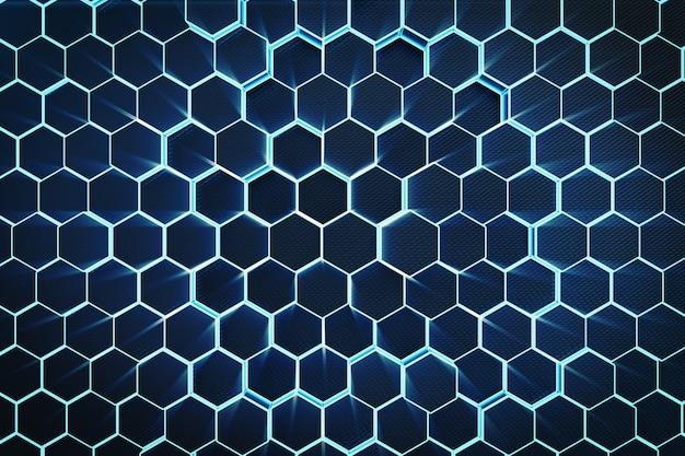 3d ilustracyjny błękitny abstrakcjonistyczny heksagonalny geometryczny tło. struktura sześciokątów samoświetlnych w niebieskim odcieniu z objętością promieni świetlnych