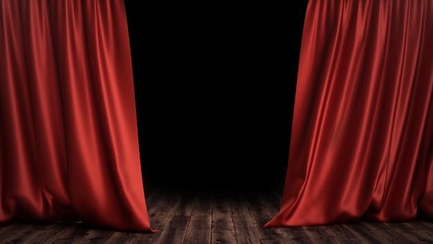 3d ilustracyjny luksusowy czerwony jedwabniczy aksamitny zasłona dekoraci projekt, pomysły. czerwona kurtyna sceniczna na tle sceny teatru lub opery. makieta do projektu