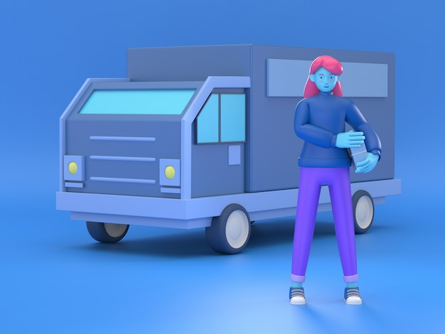 3d ilustrują doręczeniową kobietę z pudełkami przed samochodem dostawczym jako lokalna doręczeniowa usługa i wysyłki pojęcie.