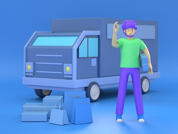3d ilustrują doręczeniowego mężczyzna z pudełkami przed samochodem dostawczym jako lokalna doręczeniowa usługa i wysyłki pojęcie.