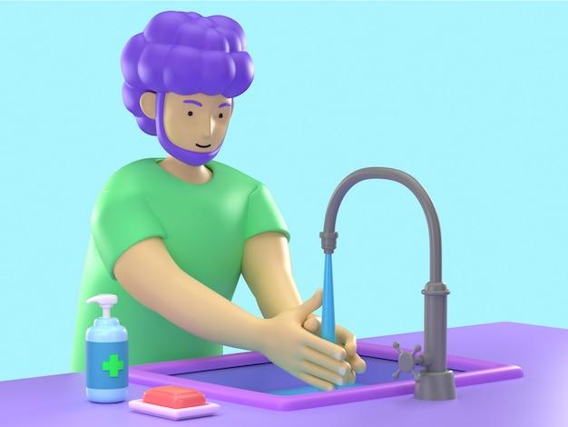 3d ilustrują młodego kreskówkowego człowieka używającego mydła i żelu alkoholowego do dezynfekcji dłoni czyszczącej przed wirusem koronowym ncov lub covid-19, unikając infekcji.