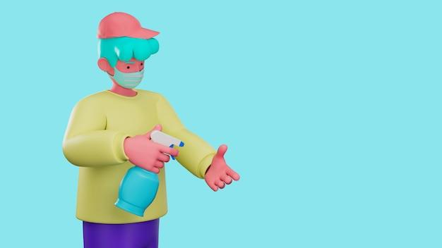 3d ilustrują postać z kreskówki używającą alkoholowego żelu do czyszczenia dłoni w celu ochrony przed grypą i wirusem koronowym covid-19.