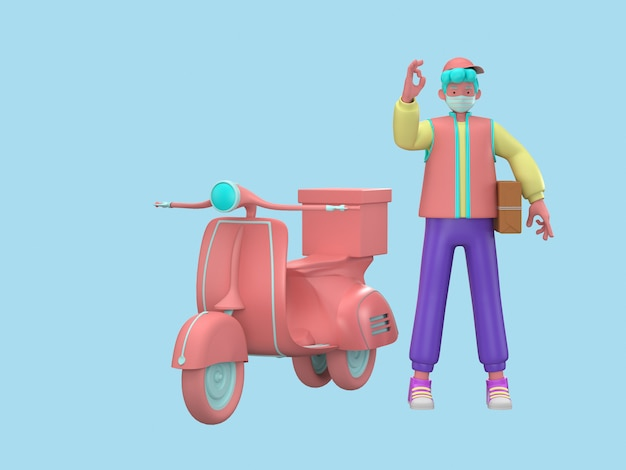 3d ilustrują. szybka i bezpłatna dostawa skuterem dla koncepcji mobilnego e-commerce dla gastronomii. graficzne zamówienie żywności online strona internetowa, projekt aplikacji, dostawa do domu i biura magazyn
