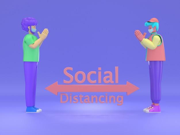3d ilustrują: tai wai, dystans społeczny, ludzie trzymający dystans dla ryzyka infekcji i choroby, noszący maskę ochronną, aby zapobiec wirusowi covid-19. pojęcie opieki zdrowotnej.