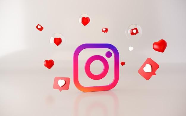 3d instagram aplikacja logo tło instagram platforma mediów społecznościowych