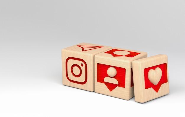 3d instagram ilustracyjnego drewnianego sześcianu