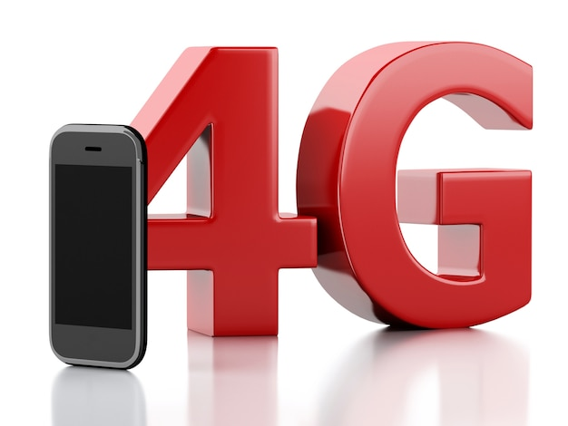 3d inteligentny telefon z 4g lte znak bezprzewodowy. koncepcja technologii