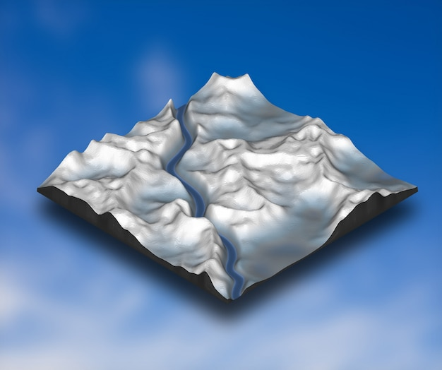3d izometryczny śnieżny krajobraz z górskim terenem