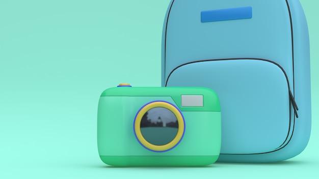 3d kamery niebieskiej torby kreskówki stylu zieleni minimalna 3d renderingu podróż