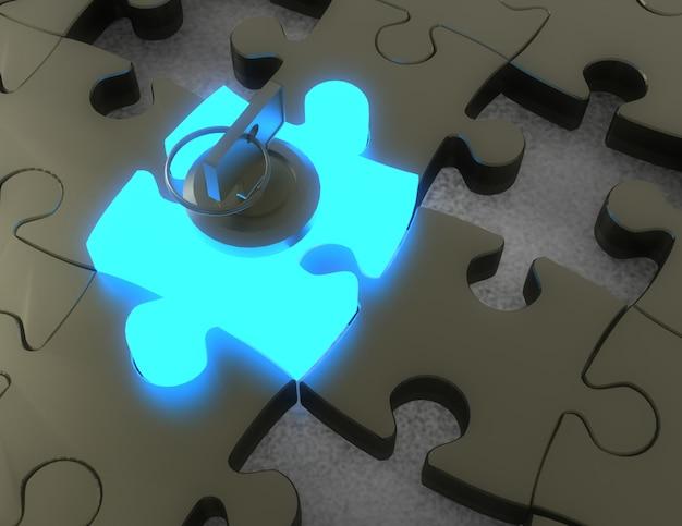 3d klucz i puzzle. 3d ilustracji