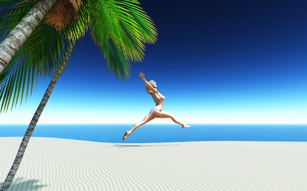 3d kobiet w bikini skoków z radości na tropikalnej plaży piaszczystej