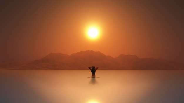 3d kobieta w morzu o zachodzie słońca