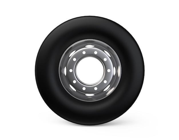 3d koło ciężarówki na aluminiowej piaście z czarną oponą o wysokiej rozdzielczości usług komercyjnych