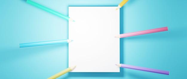3d kolorowych ołówków i pustą białą stronę na niebieskiej powierzchni
