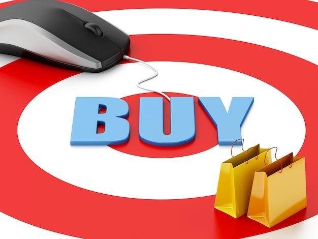 3d komputerowa mysz i torba na zakupy. koncepcja e-commerce