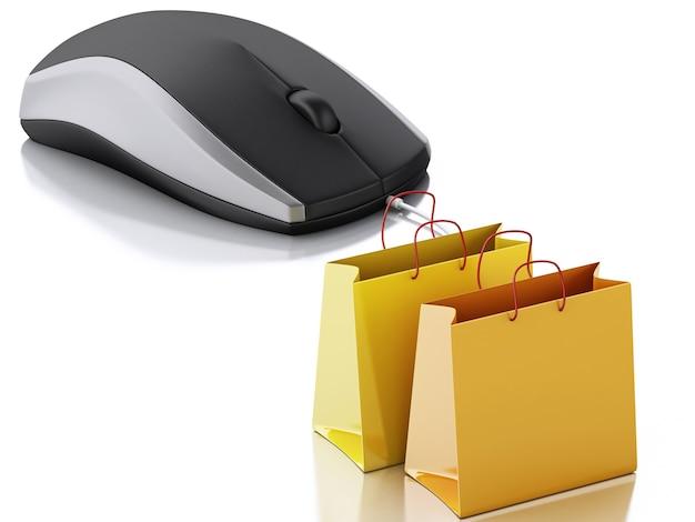 3d komputerowa mysz z torba na zakupy. e-commerce