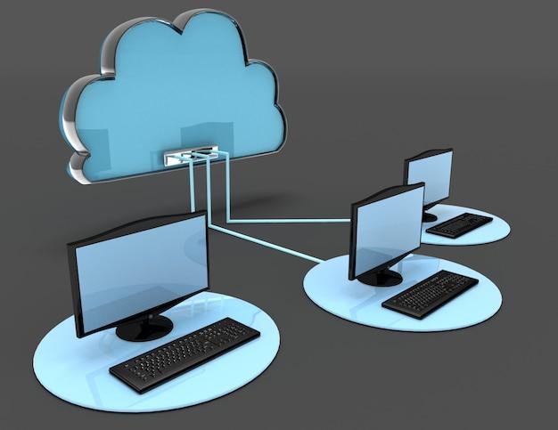 3d koncepcja chmury internetowej. 3d renderowana ilustracja